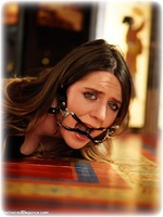 Free bondage photo Samantha Bentley gag, rope bondage, barefoot, blouse, hogtie, brunette, ungagged
