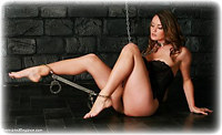Free bondage photo Samantha Olivia-Paige barefoot, handcuffs, chains, lingerie, spreader bar, metal bondage, collar