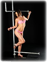 Free bondage photo Sarah Louise barefoot, handcuffs, bondage pole, brunette, leather bondage, lingerie, ungagged