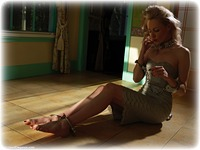 Free bondage photo Sara W barefoot, handcuffs, blonde, leg irons, metal bondage, collar, nude, dress, ungagged