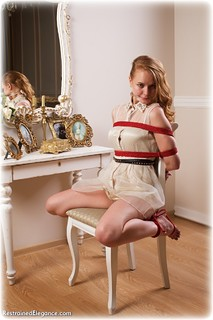 Bondage photo pic picture Irene barefoot, cloth gag, dress, redhead, rope bondage