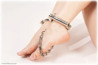 Bondage photo pic picture Anita R barefoot, handcuffs, brunette, lingerie, metal bondage, topless