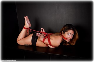 Bondage photo pic picture Aisha rope bondage, barefoot, satin, hogtie, silk, lingerie, cloth gag, topless, redhead