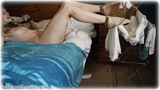 Bondage photo pic picture Ariel Anderssen barefoot, bedroom, blonde, leg irons, metal bondage, nude, ungagged, yoke, nude in metal