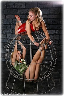 Bondage photo pic picture Amy Hunter and Ariel Anderssen rope bondage, girlgirl, barefoot, satin, blonde, cage, pencil skirt, ungagged, pvc
