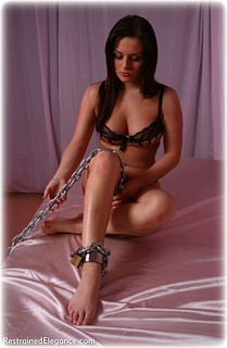 Bondage photo pic picture Janey barefoot, brunette, sm factory, chains, lingerie, cloth gag, topless, ungagged