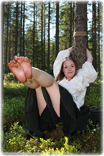 Bondage photo pic picture Pling rope bondage, barefoot, blonde, medieval, outdoor, ungagged