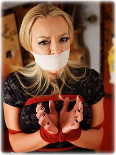 Bondage photo pic picture Hannah Claydon rope bondage, barefoot, blonde, chinese dress, tape gag, ungagged