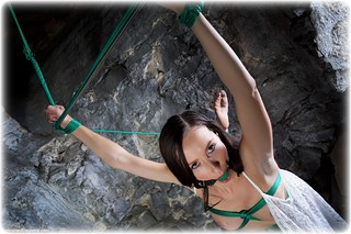 Bondage photo pic picture Sophia Smith rope bondage, ballgag, barefoot, brunette, lingerie, nude, dungeon