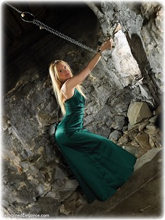 Bondage photo pic picture Ariel Anderssen ballgown, barefoot, satin, blonde, shackles, silk, sm factory, leg irons, chains, metal bondage, collar, dress, dungeon