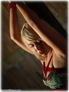 Bondage photo pic picture Millie Fenton rope bondage, barefoot, blonde, drama, dress, ungagged
