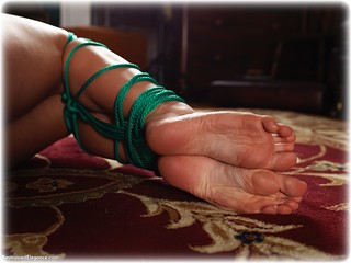 Bondage photo pic picture Tillie rope bondage, barefoot, bedroom, brunette, cloth gag, nude, ungagged