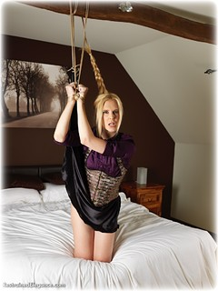 Bondage photo pic picture Ariel Anderssen rope bondage, barefoot, satin, bedroom, blonde, blouse, humiliation, silk, skirt, melodrama, corset, ungagged