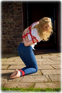 Bondage photo pic picture Ariel Anderssen rope bondage, barefoot, blonde, blouse, jeans, denim, outdoor, ungagged