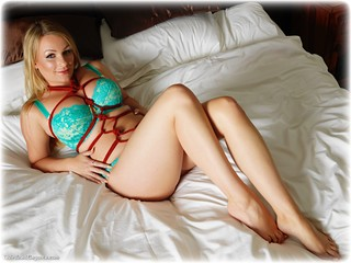 Bondage photo pic picture Penny Lee rope bondage, barefoot, bedroom, blonde, hogtie, lingerie, ungagged, romance