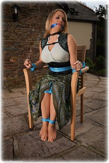 Bondage photo pic picture Penny Lee rope bondage, barefoot, blonde, blouse, silk, skirt, cloth gag, corset, outdoor, ungagged