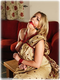 Bondage photo pic picture Penny Lee rope bondage, ballgag, barefoot, sari, blonde, melodrama, topless, ungagged