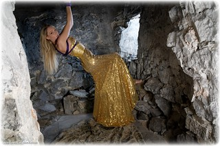 Bondage photo pic picture Angel Price rope bondage, ballgown, barefoot, blonde, cloth gag, dress, dungeon, ungagged