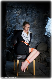 Bondage photo pic picture Angel Price rope bondage, barefoot, blonde, blouse, skirt, business wear, dungeon, ungagged