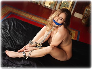 Bondage photo pic picture Rachelle Summers barefoot, bedroom, shackles, brunette, sm factory, leg irons, chains, cloth gag, metal bondage, collar, nude