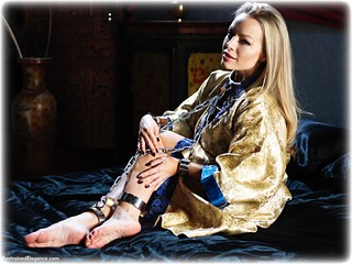 Bondage photo pic picture Hannah Claydon barefoot, bedroom, shackles, blonde, sm factory, leg irons, chains, lingerie, metal bondage, collar, nightwear, ungagged