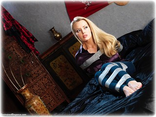 Bondage photo pic picture Hannah Claydon barefoot, satin, blonde, blouse, bondage tape, silk, jeans, melodrama, tape gag, denim, ungagged