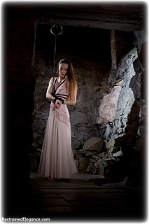 Bondage photo pic picture Sophia Smith rope bondage, ballgown, barefoot, brunette, dungeon, ungagged