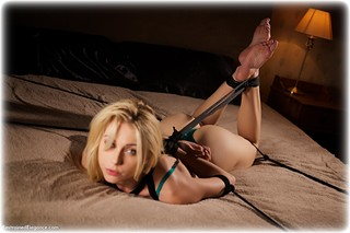 Bondage photo pic picture Chloe T rope bondage, barefoot, bedroom, blonde, hogtie, lingerie, ungagged
