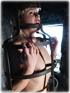 Bondage photo pic picture Lucy Lauren barefoot, handcuffs, blonde, cage, metal bondage, nude, dungeon, ungagged