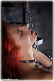Bondage photo pic picture Scarlett Foxett barefoot, gown, handcuffs, historical, leg irons, chains, medieval, metal bondage, collar, nude, nude in metal, dress, dungeon, redhead