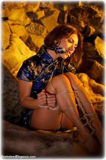 Bondage photo pic picture Czech Beauty rope bondage, barefoot, satin, silk, brunette, chinese dress, cloth gag, dungeon