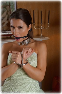 Bondage photo pic picture Czech Beauty ballgag, globe cuffs, barefoot, leg irons, metal bondage, collar