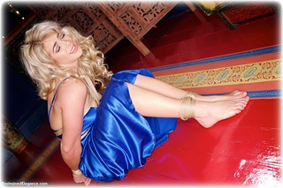 Bondage photo pic picture Tillie rope bondage, ballgown, barefoot, satin, blonde, silk