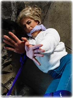 Bondage photo pic picture Tillie rope bondage, barefoot, blonde, jeans, cloth gag, melodrama, sweater, dungeon, ungagged