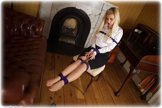 Bondage photo pic picture Bad Dolly rope bondage, satin, blonde, blouse, shoes, silk, cloth gag, pantyhose, pencil skirt