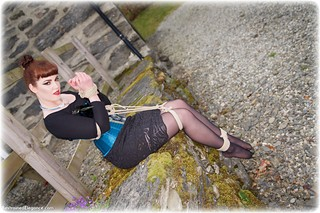 Bondage photo pic picture Zoe Page brunette, stockings, corset, outdoor, rope bondage