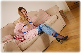 Bondage photo pic picture Ayla Rose rope bondage, blonde, shoes, humiliation, jeans, lingerie, sweater, denim, pantyhose, ungagged