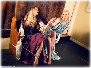 Bondage photo pic picture Ariel Anderssen and Ayla Rose rope bondage, barefoot, blonde, medieval, dress, ungagged