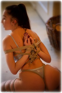 Bondage photo pic picture Sophia Smith rope bondage, barefoot, brunette, lingerie, ungagged, reverse prayer, frogtie, romance