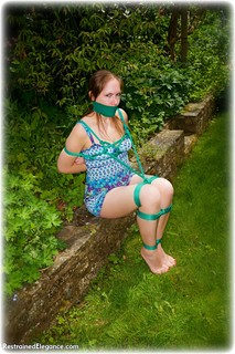 Bondage photo pic picture Rachel Adams rope bondage, barefoot, brunette, tape gag, outdoor, dress