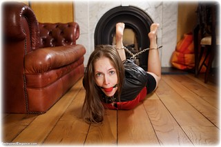 Bondage photo pic picture Rachel Adams ballgag, barefoot, satin, hogtie, blouse, silk, single glove, skirt, brunette, leather bondage, leg irons, metal bondage, pencil skirt