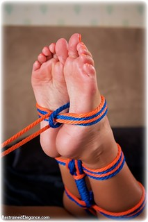 Bondage photo pic picture Lauren Louise rope bondage, barefoot, bedroom, hogtie, brunette, nude, ungagged