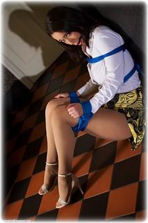 Bondage photo pic picture Lauren Louise ballgag, shoes, blouse, skirt, pantyhose, rope bondage, tights