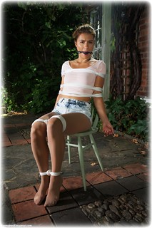 Bondage photo pic picture Czech Beauty rope bondage, ballgag, shoes, shorts, denim, pantyhose