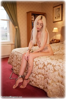 Bondage photo pic picture Hannah Clare barefoot, bedroom, hogtie, shackles, blonde, sm factory, leg irons, chains, metal bondage, nude