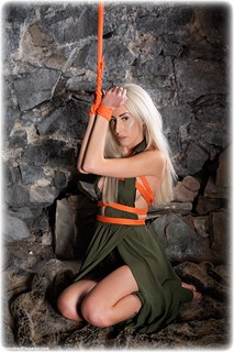 Bondage photo pic picture Hannah Clare barefoot, blonde, dress, dungeon, ungagged, rope bondage