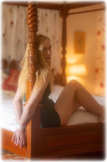 Bondage photo pic picture Ariel Anderssen rope bondage, barefoot, bedroom, blonde, dress, ungagged