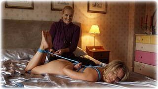 Bondage photo pic picture Penny Lee and Ariel Anderssen rope bondage, girlgirl, barefoot, bedroom, blonde, hogtie, nude, documentary, ungagged