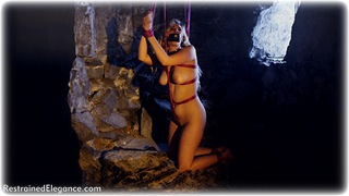 Bondage photo pic picture Ariel Anderssen and Bad Dolly rope bondage, barefoot, blonde, sm factory, cock gag, collar, nude, crotch rope, drama, dungeon