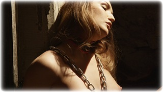 Bondage photo pic picture Rachelle Summers ballgag, barefoot, self bondage, brunette, slave training, business wear, leather bondage, chains, lingerie, stockings, collar, nude